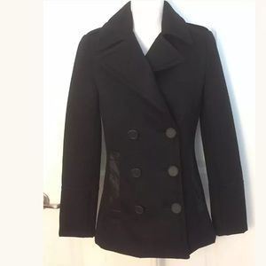Elie Tahari Black Wool Leather Accent Trench Coat